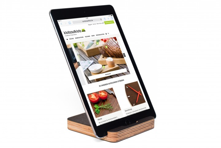 Tablet Stand Multiplex, Fumed Oak