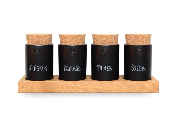 Spice Rack Oak (4 Clay Pots)
