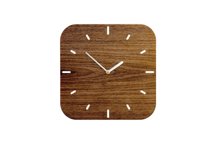 Small Wall Clock Nut Wood, rounded-off