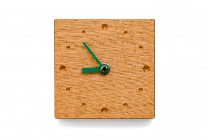 Square Wall Clock, Oak