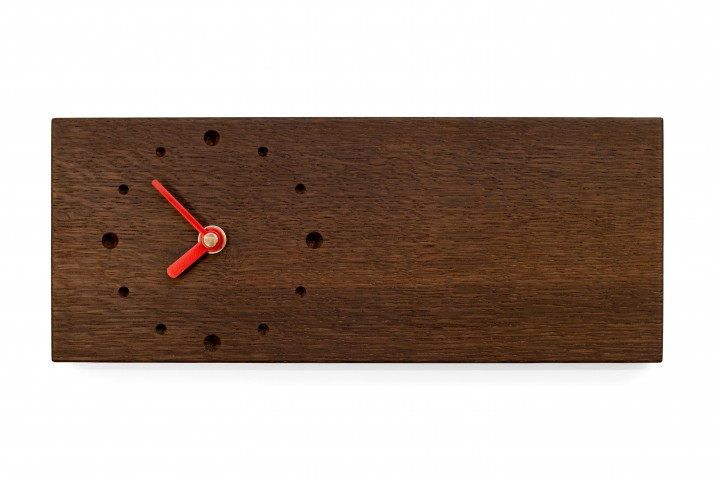 Elongated Wall Clock, Fumed Oak
