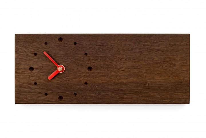 Elongated Wall Clock, Fumed Oak