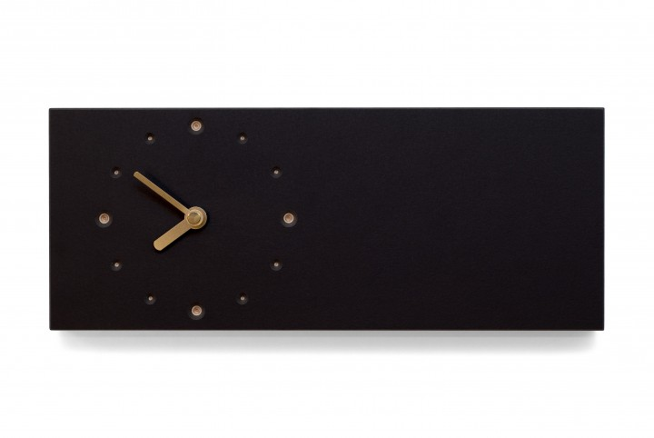 Elongated Wall Clock, Nero