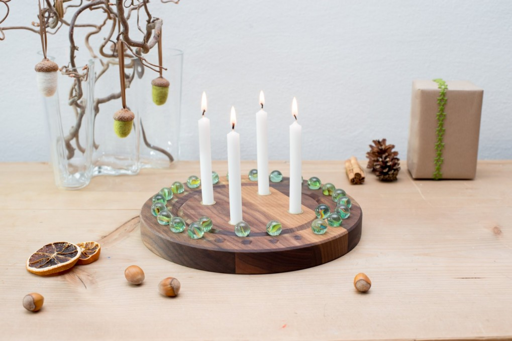 Advent Calendar Wreath Made From Nut Wood Klotzaufklotz Com Outstanding Wooden Products