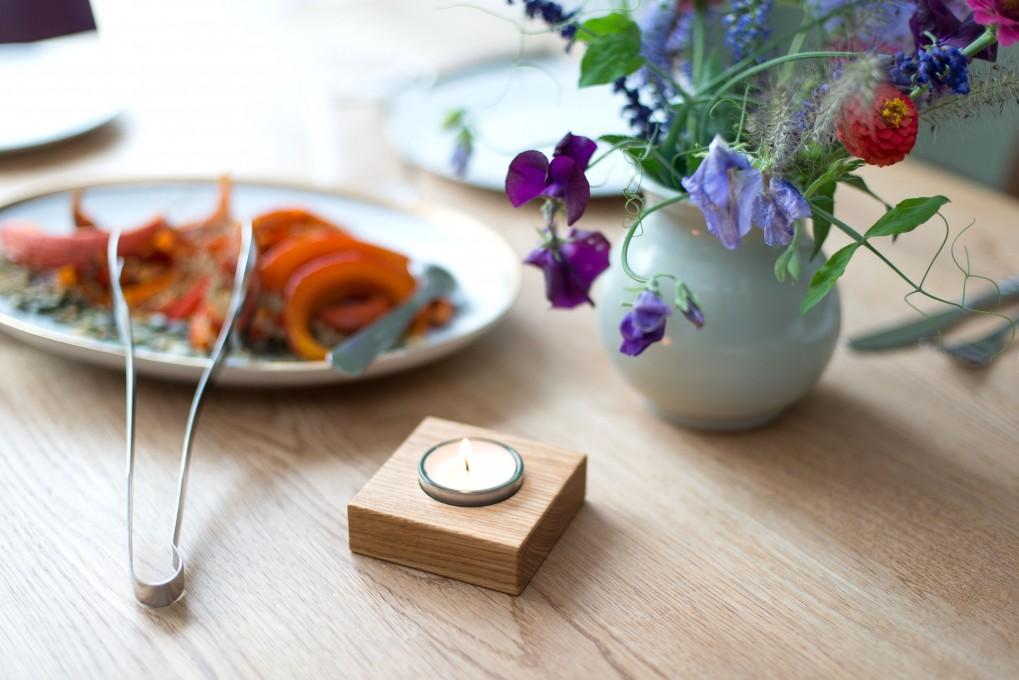 Tea Light Holder Oak
