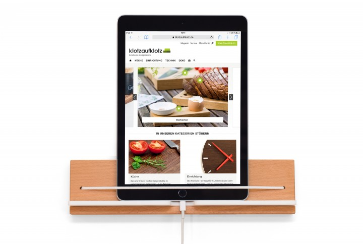 Wall Mounted Tablet Holder, Beech