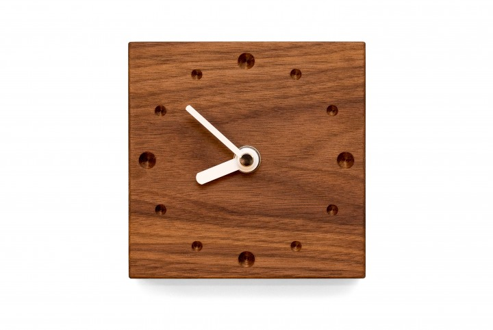 Square Wall Clock, Nut Wood