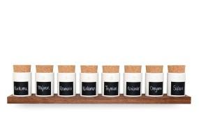 Spice Rack Nut Wood (8 Clay Pots)
