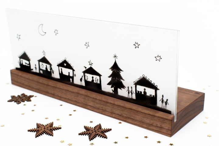 Nativity Scene Christmas Market BW