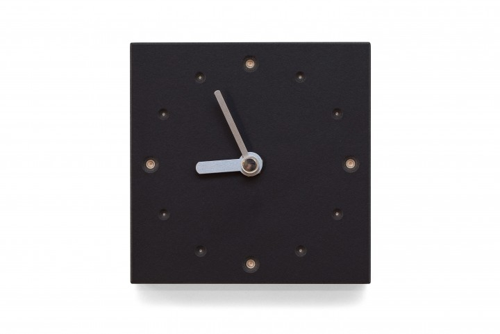 Square Wall Clock, Nero