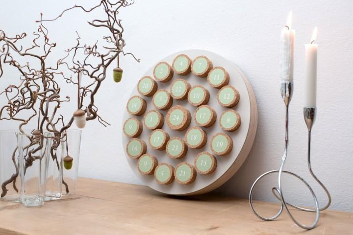 Advent Calendar Cork Mushroom, round