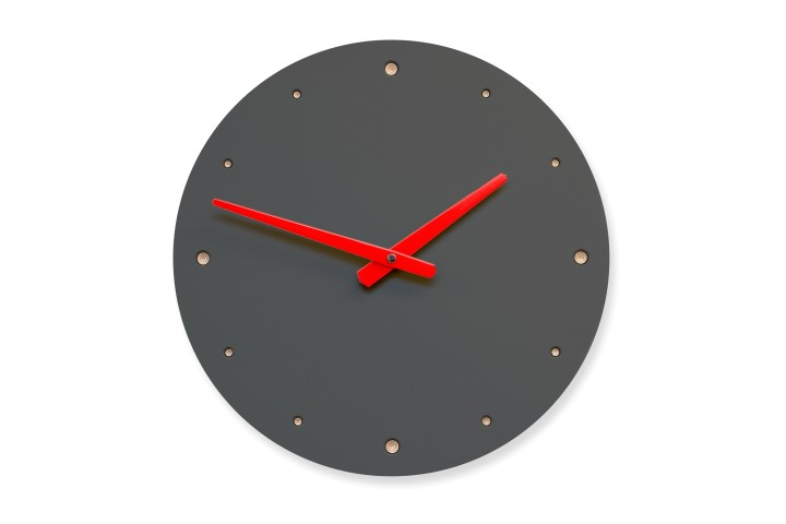Wall Clock Pewter, round
