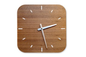 Wall Clock Nut Wood, rounded off