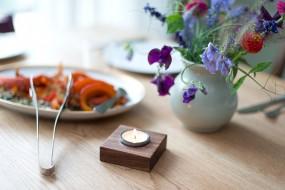 Tea Light Holder Nut Wood