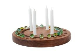 Advent Wreath Nut Wood, round
