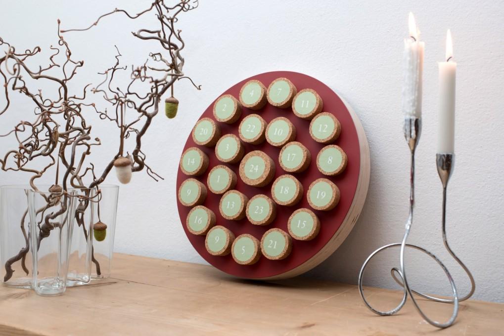 Advent Calendar Cork Red, round