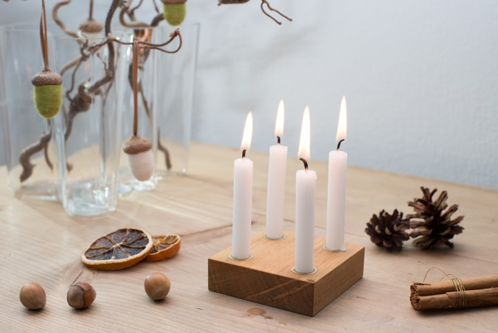 Small Advent Wreath Oak, square