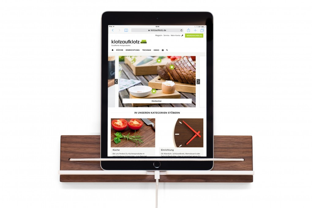 Wall Mounted Tablet Holder, Nut Wood