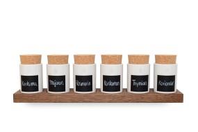 Spice Rack Nut Wood (6 Clay Pots)