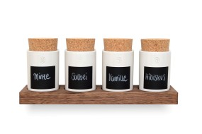 Spice Rack Nut Wood (4 Clay Pots)