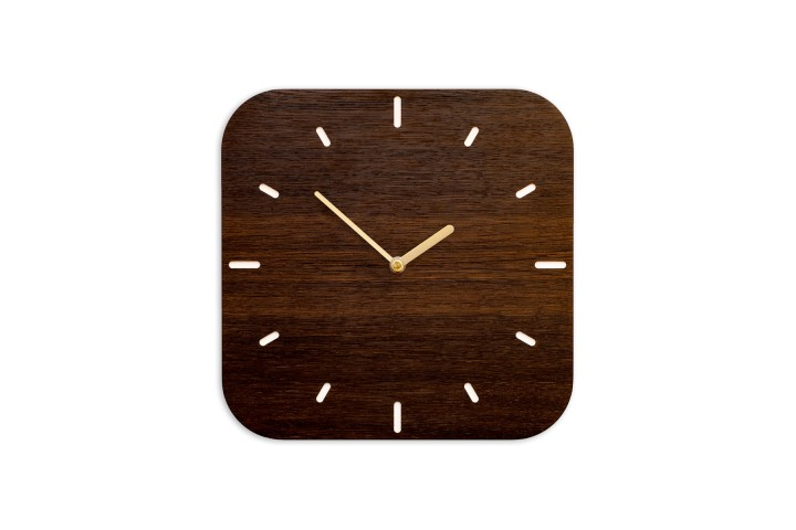 Small Wall Clock Fumed Oak, rounded-off