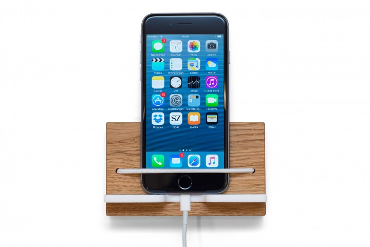Wall Mounted Smartphone Holder, Oak