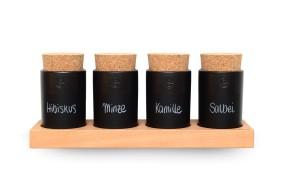Spice Rack Beech (4 Clay Pots)