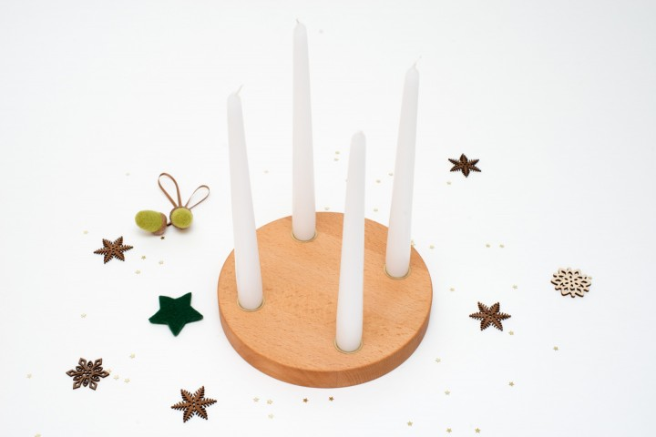 Small Advent Wreath Beech, round