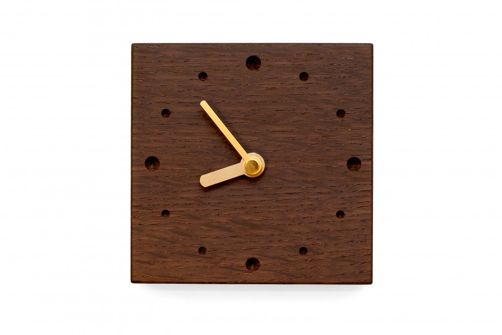 Square Wall Clock, Fumed Oak
