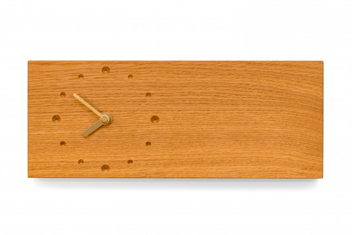 Elongated Wall Clock, Oak