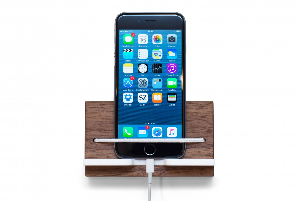 Wall Mounted Smartphone Holder, Nut Wood