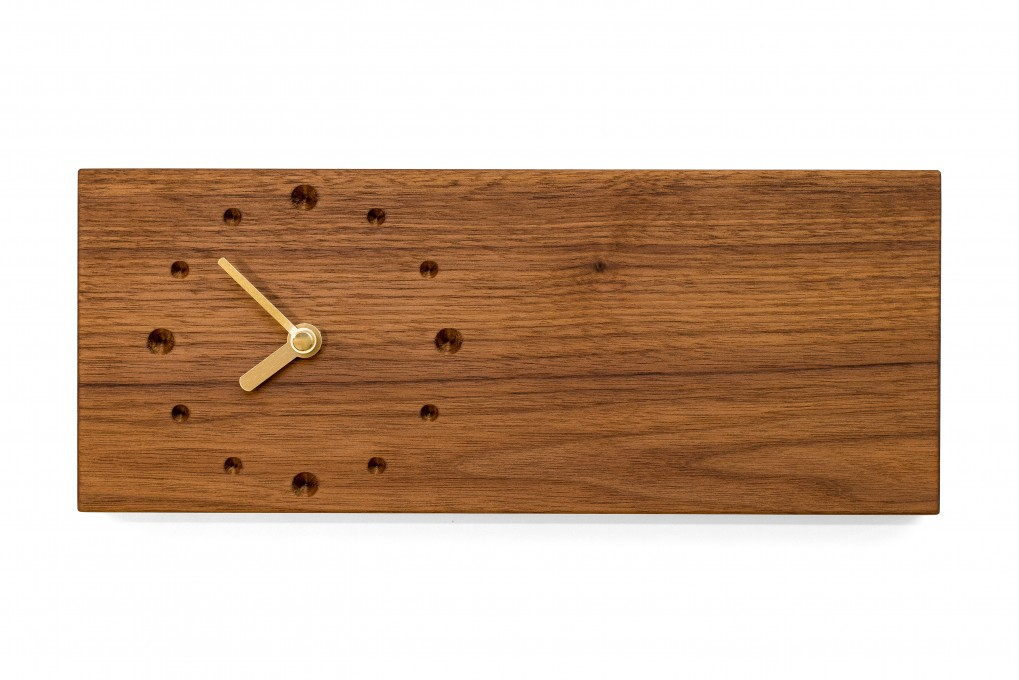 Elongated Wall Clock, Nut Wood