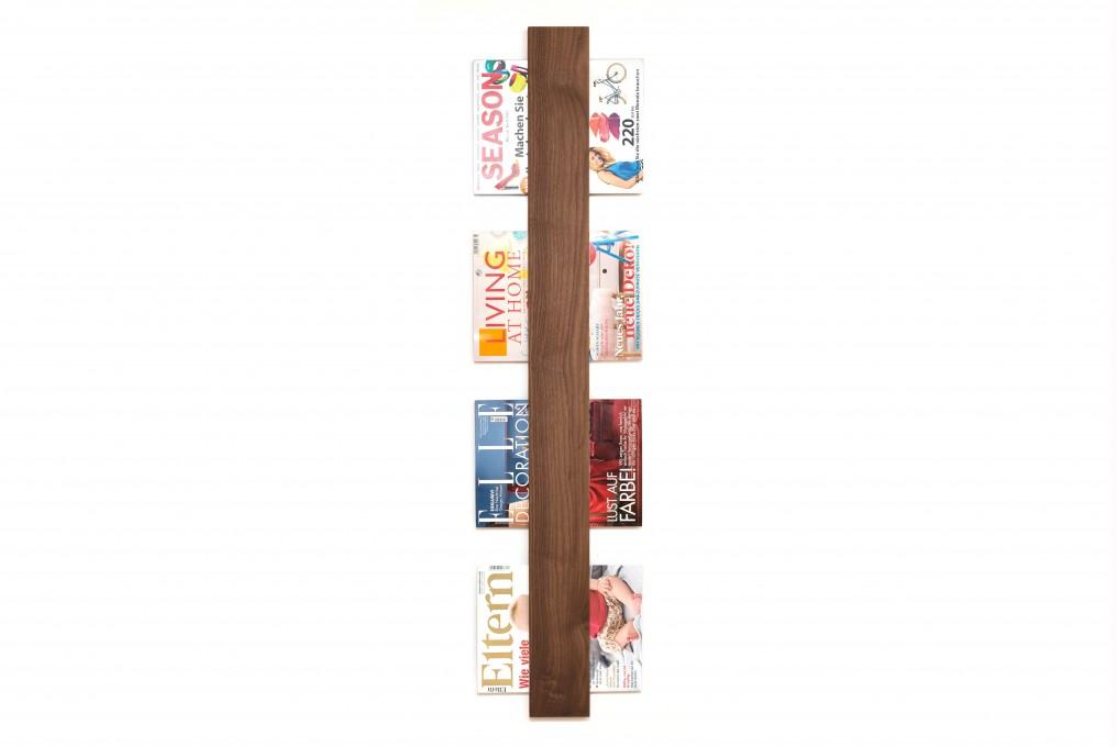 Magazine Rack Nut Wood, vertical