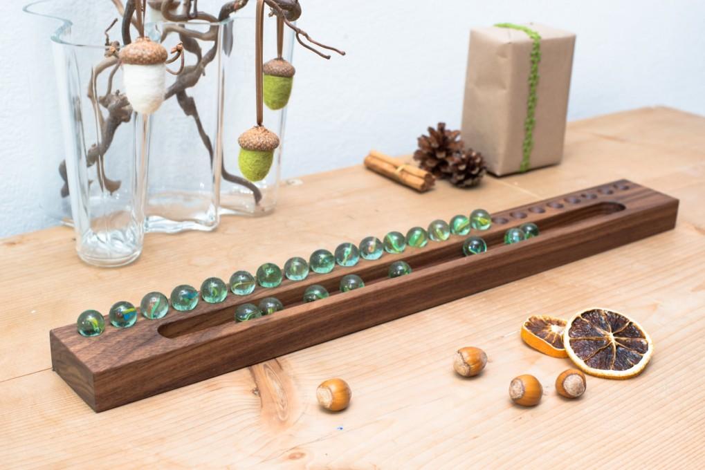 Advent Calendar Marble Nut Wood