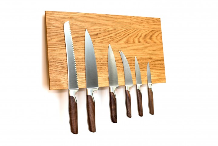 Wall Mounted Knife Block Oak, empty