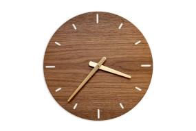 Wall Clock Nut Wood, round