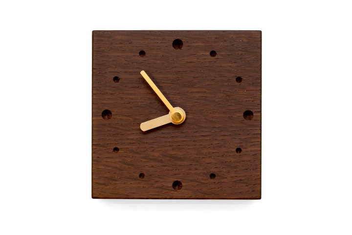 Square Wall Clock, Fumed Oak