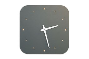 Wall Clock Pewter, rounded off