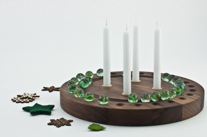 Advent Wreath Nut Wood, round