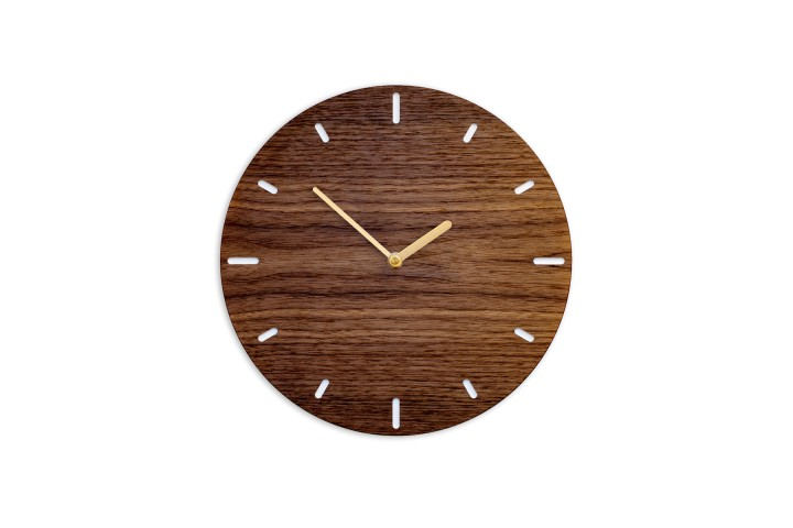 Small Wall Clock Nut Wood, round