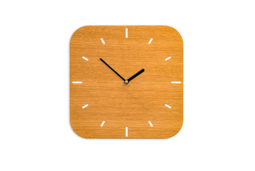 Small Wall Clock Oak, rounded-off