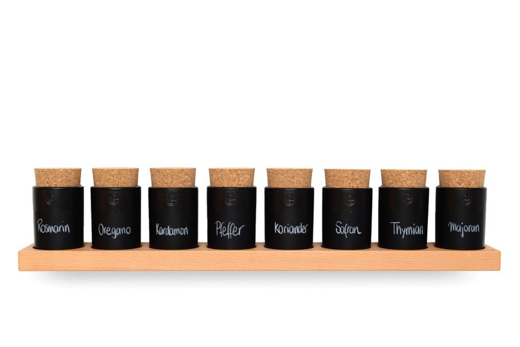 Spice Rack Beech (8 Clay Pots)